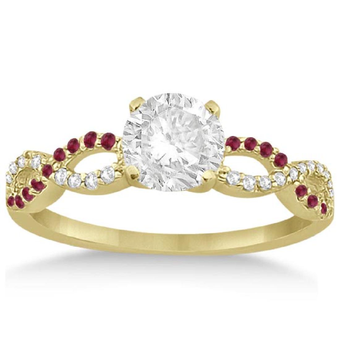 Infinity Diamond and Ruby Gemstone Engagement Ring 14K