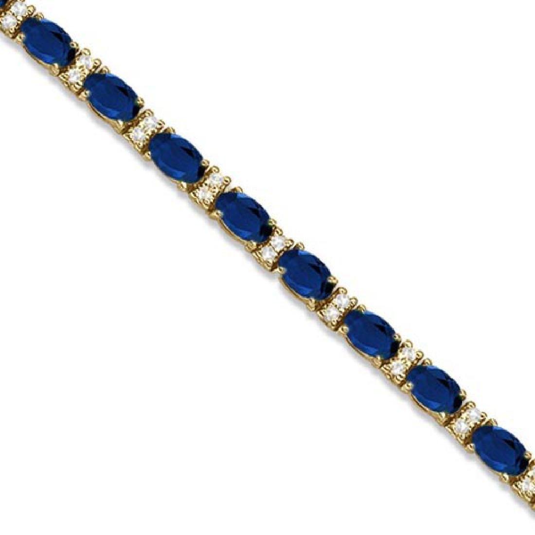 Diamond and Oval Cut Sapphire Tennis Bracelet 14k Yello