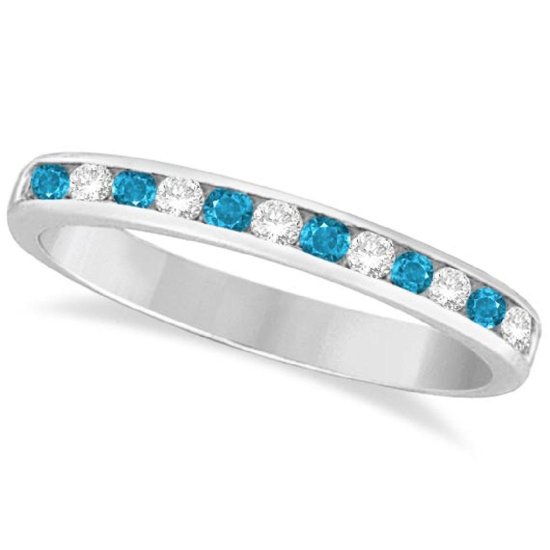 Blue Topaz and Diamond Semi-Eternity Channel Ring 14k W