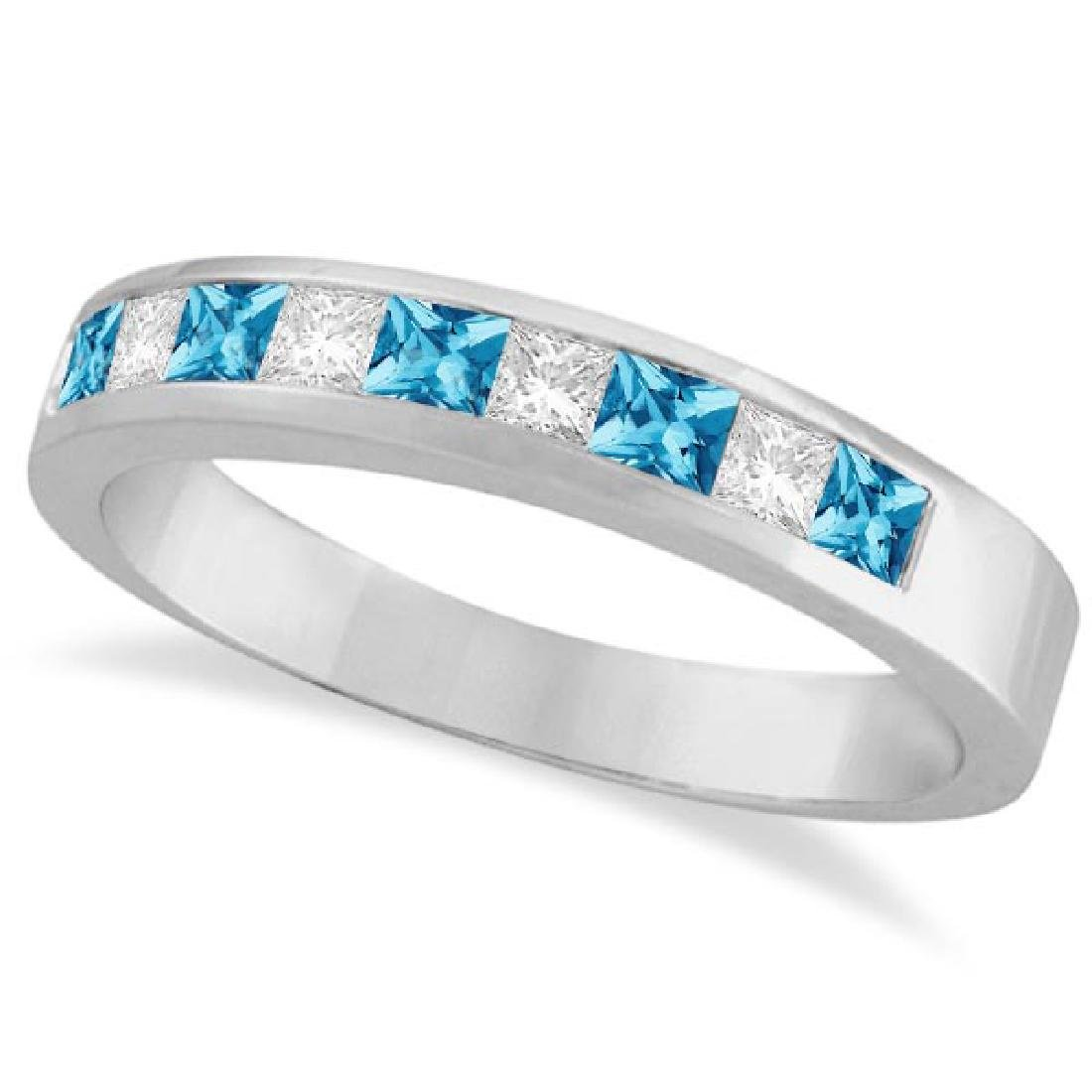Princess Channel-Set Diamond and Blue Topaz Ring Band 1