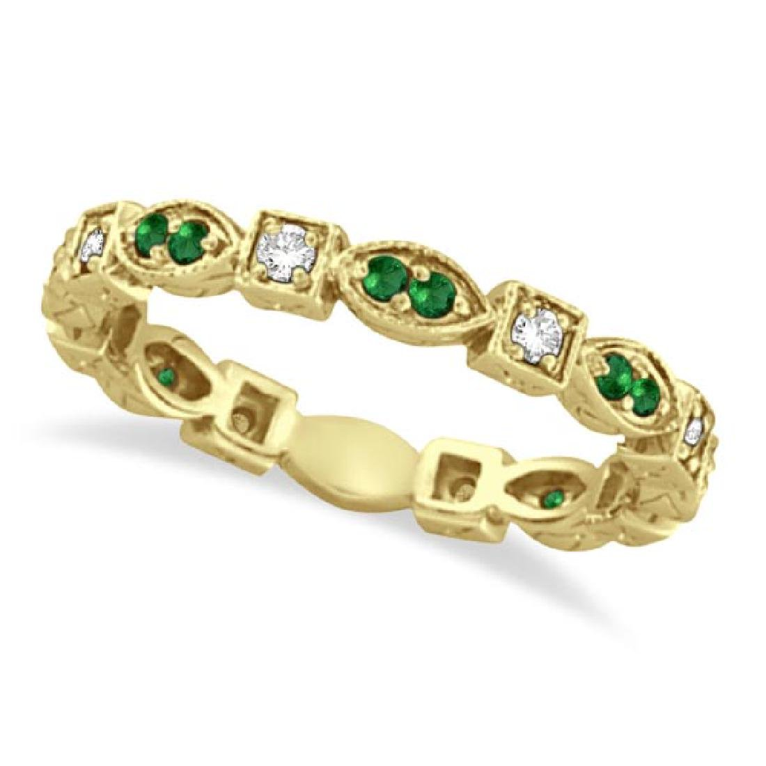 Emerald and Diamond Eternity Ring Anniversary Band 14k