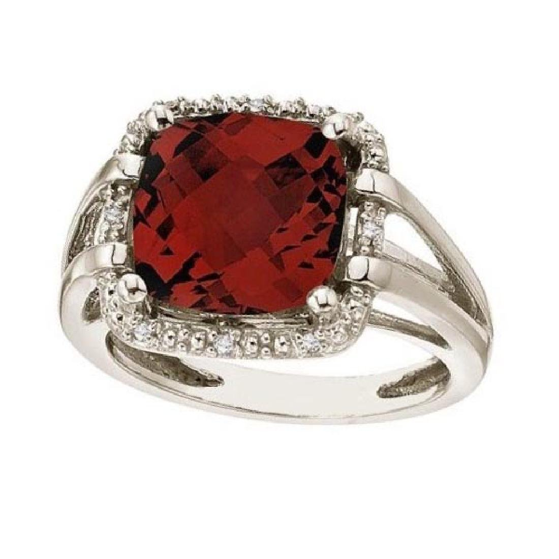 Cushion-Cut Garnet and Diamond Cocktail Ring 14k White