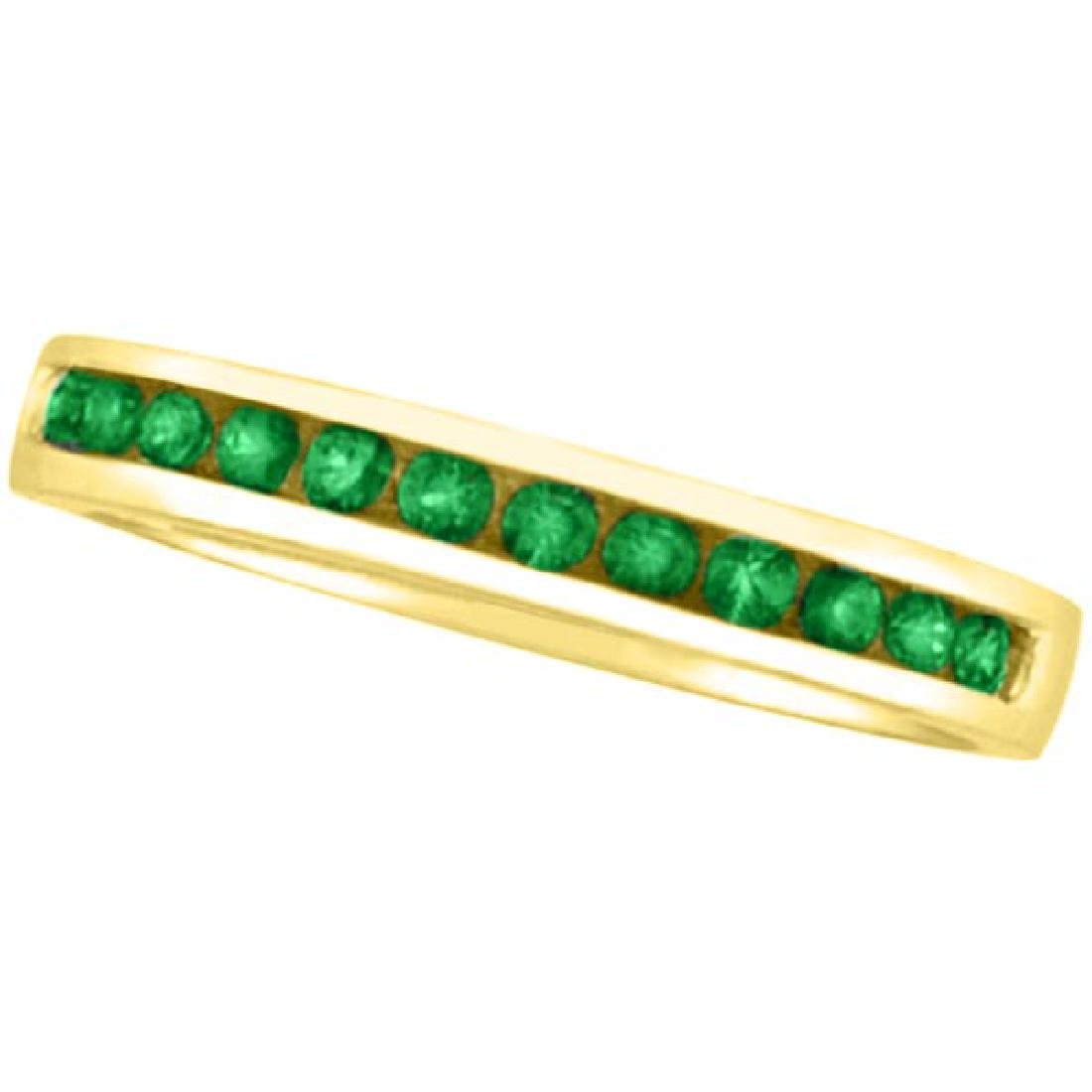 Channel-Set Emerald Band Stackable Ring 14k Yellow Gold