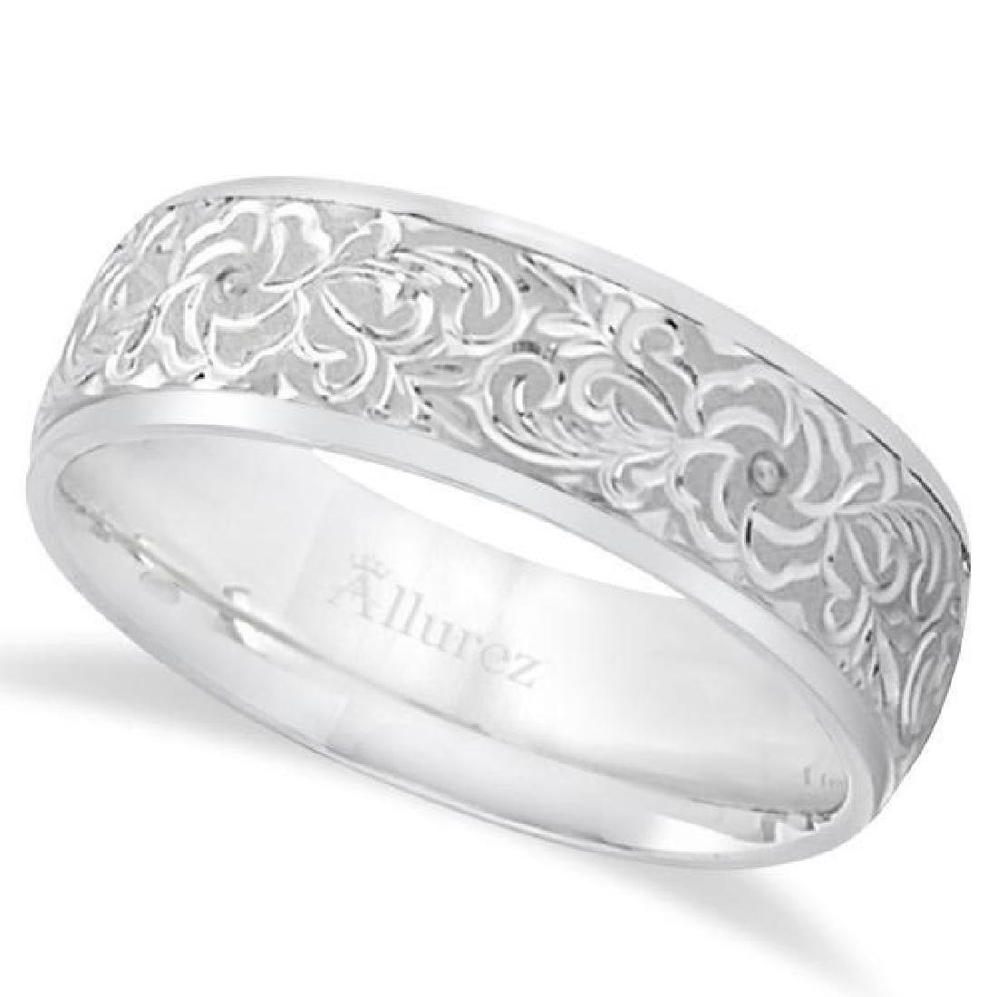 Hand-Engraved Flower Wedding Ring Wide Band Platinum (7