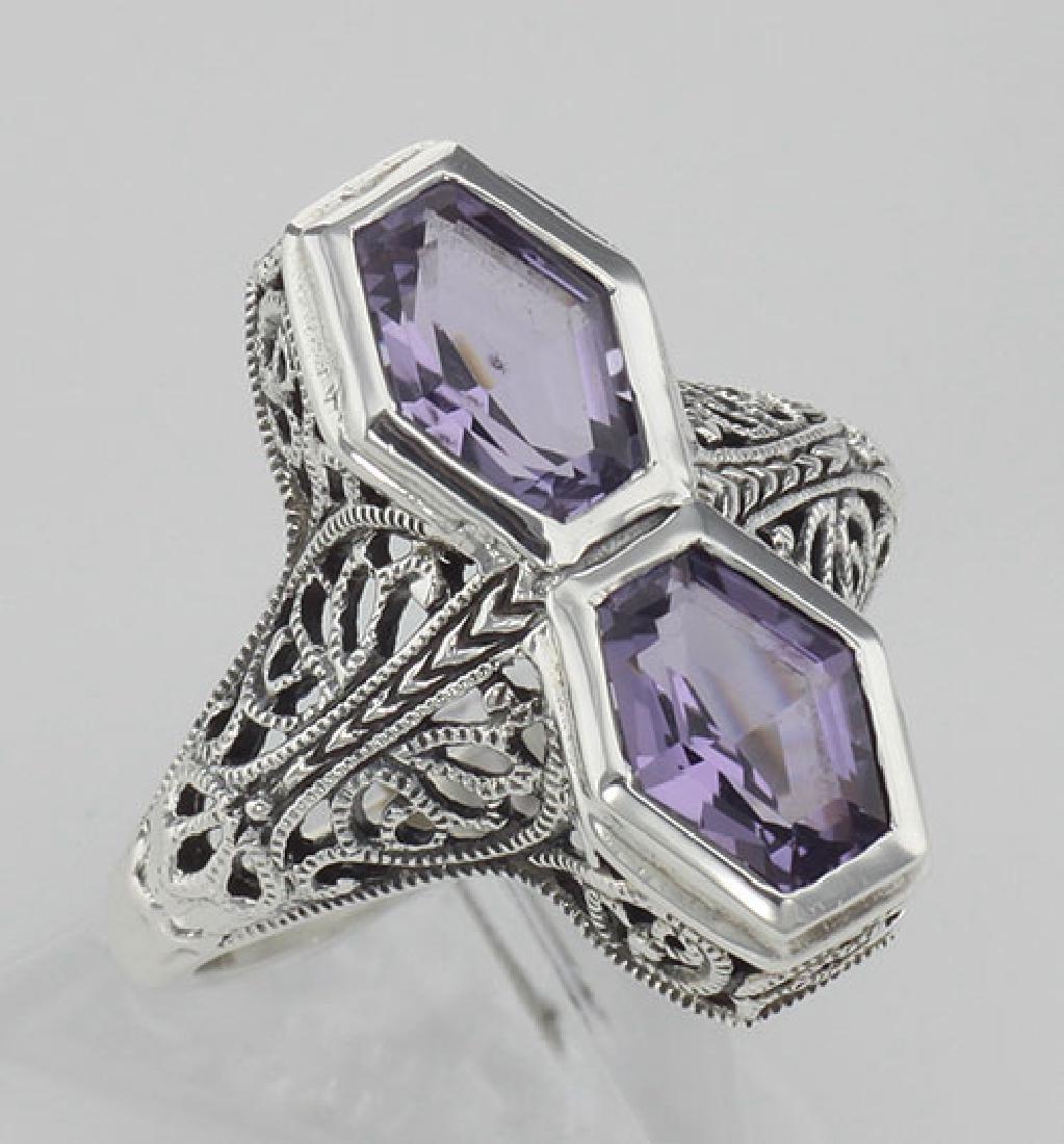 Art Deco Style Genuine Purple Amethyst Filigree Ring -