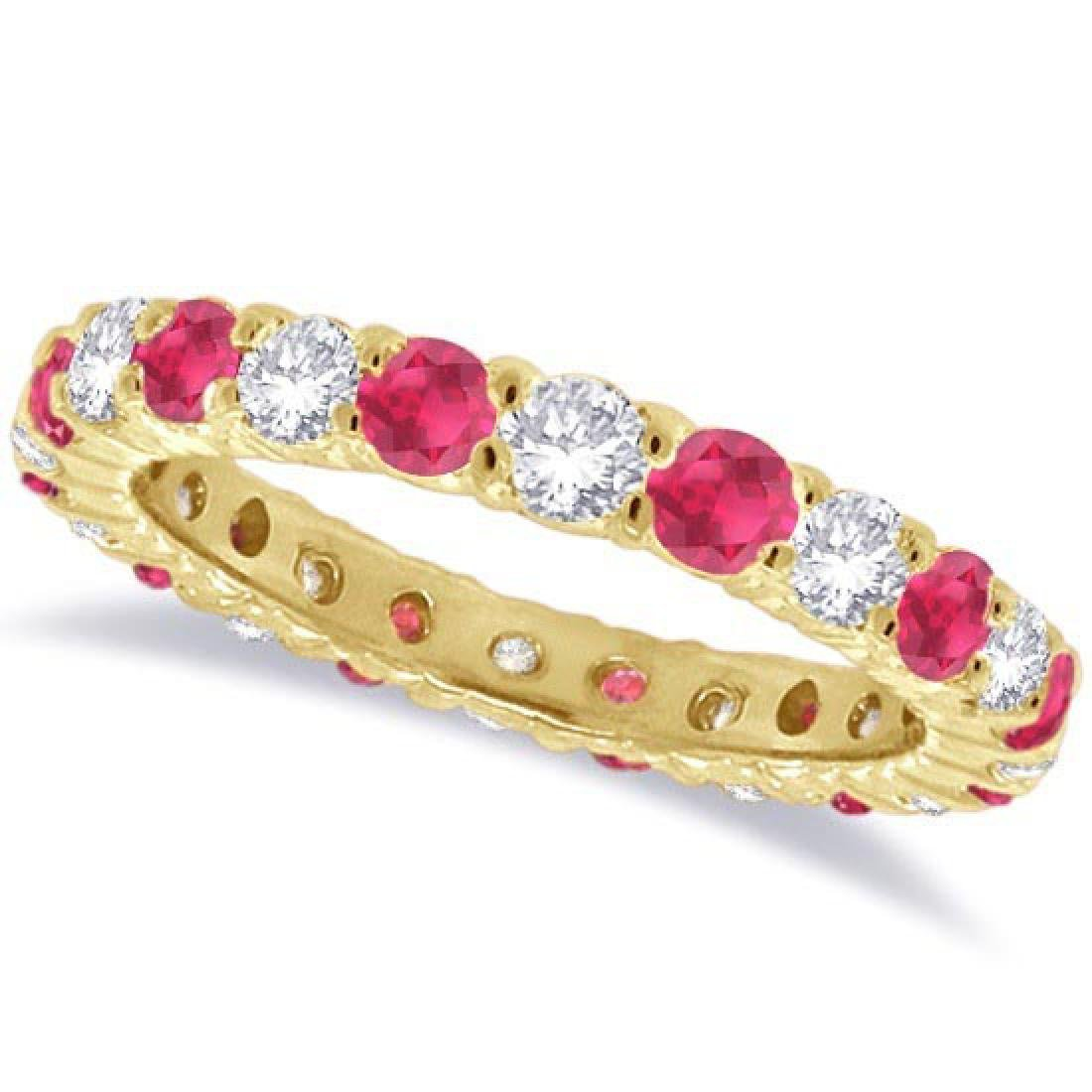 Ruby and Diamond Eternity Ring Band 14k Yellow Gold (1.