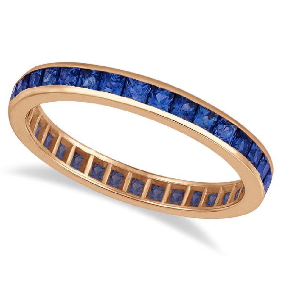 Princess-Cut Blue Sapphire Eternity Ring Band 14k Rose