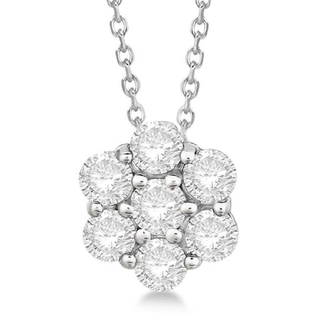 Cluster Diamond Flower Pendant Necklace 14K White Gold