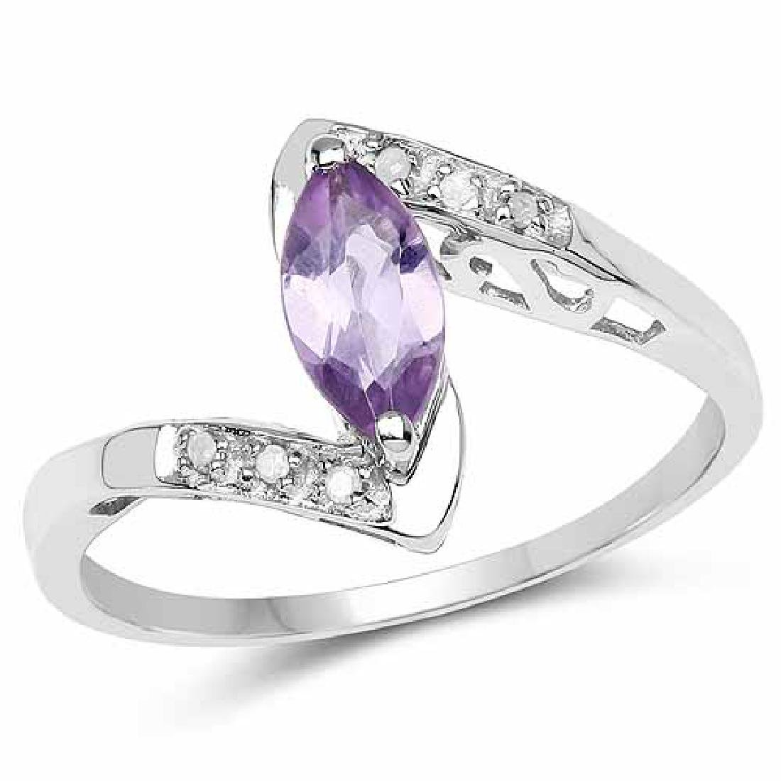 0.56 Carat Genuine Amethyst and White Diamond .925 Ster