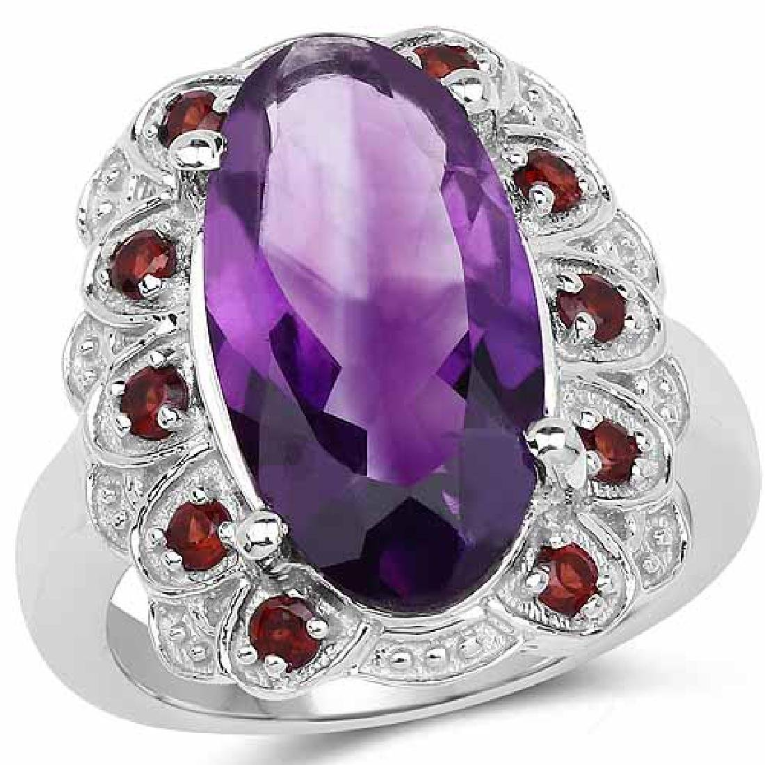 6.40 Carat Genuine Amethyst and Garnet .925 Sterling Si