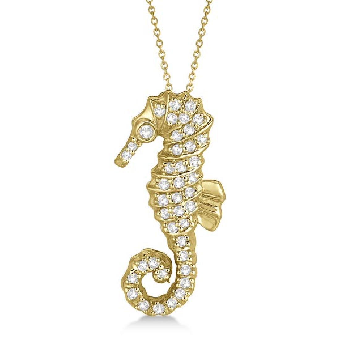 Diamond Seahorse Pendant Necklace 14k Yellow Gold (0.29