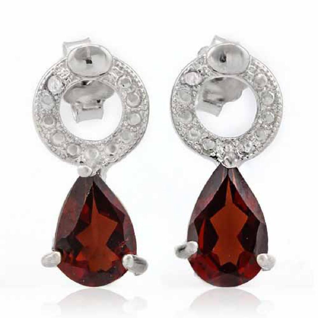 1 3/5 CARAT GARNET & DIAMOND 925 STERLING SILVER EARRIN