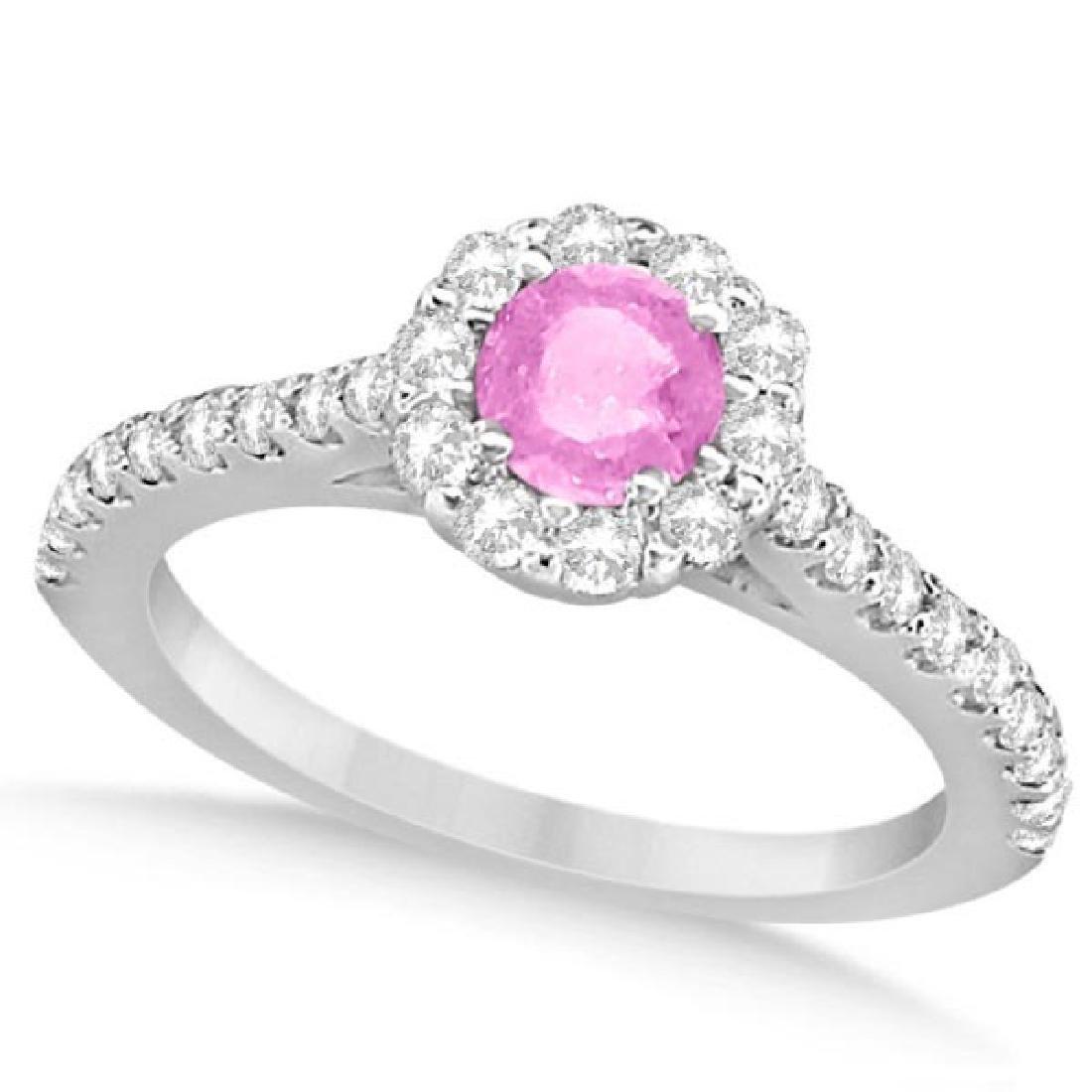 Enhanced Pink Diamond Engagement Ring Pave Halo 14k Whi