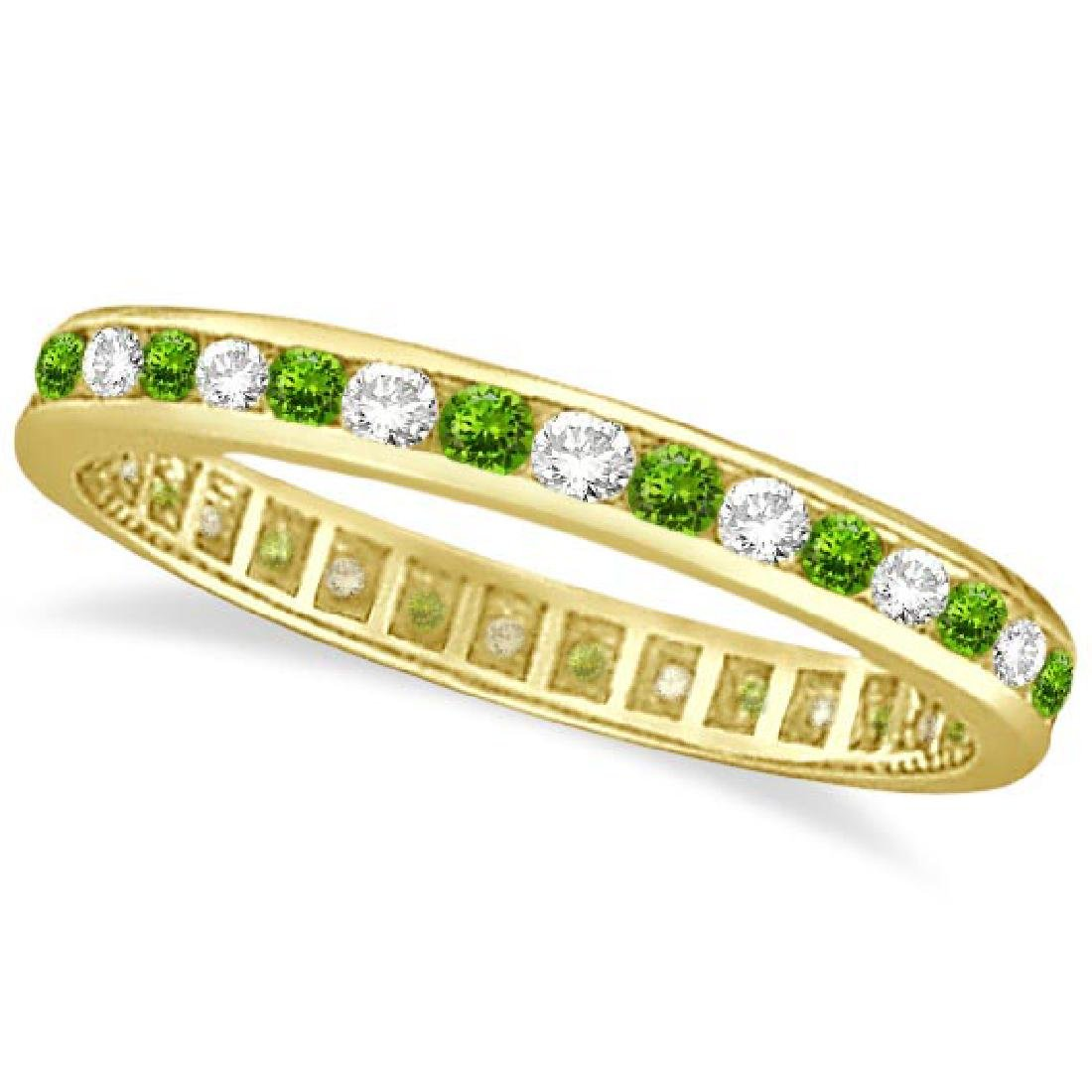 Peridot and Diamond Channel-Set Eternity Ring 14k Yello