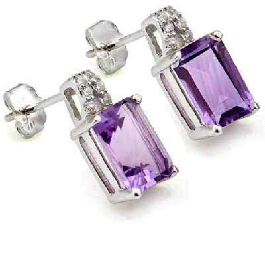 3 1/3 CARAT AMETHYST & (12 PCS) CREATED DIAMOND 925 STE