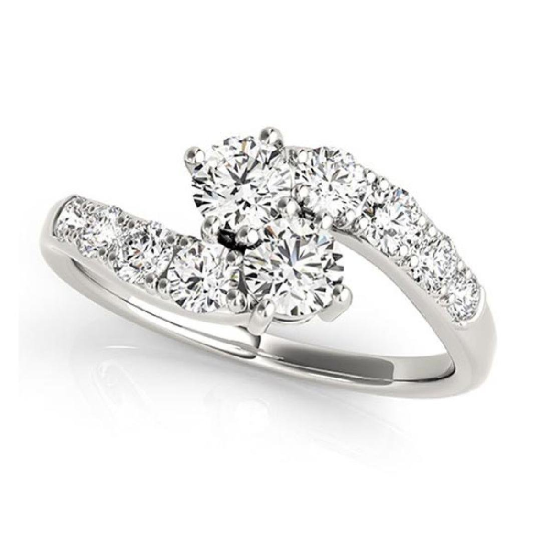 Diamond Accented Contoured Two Stone Ring 14k White Gol