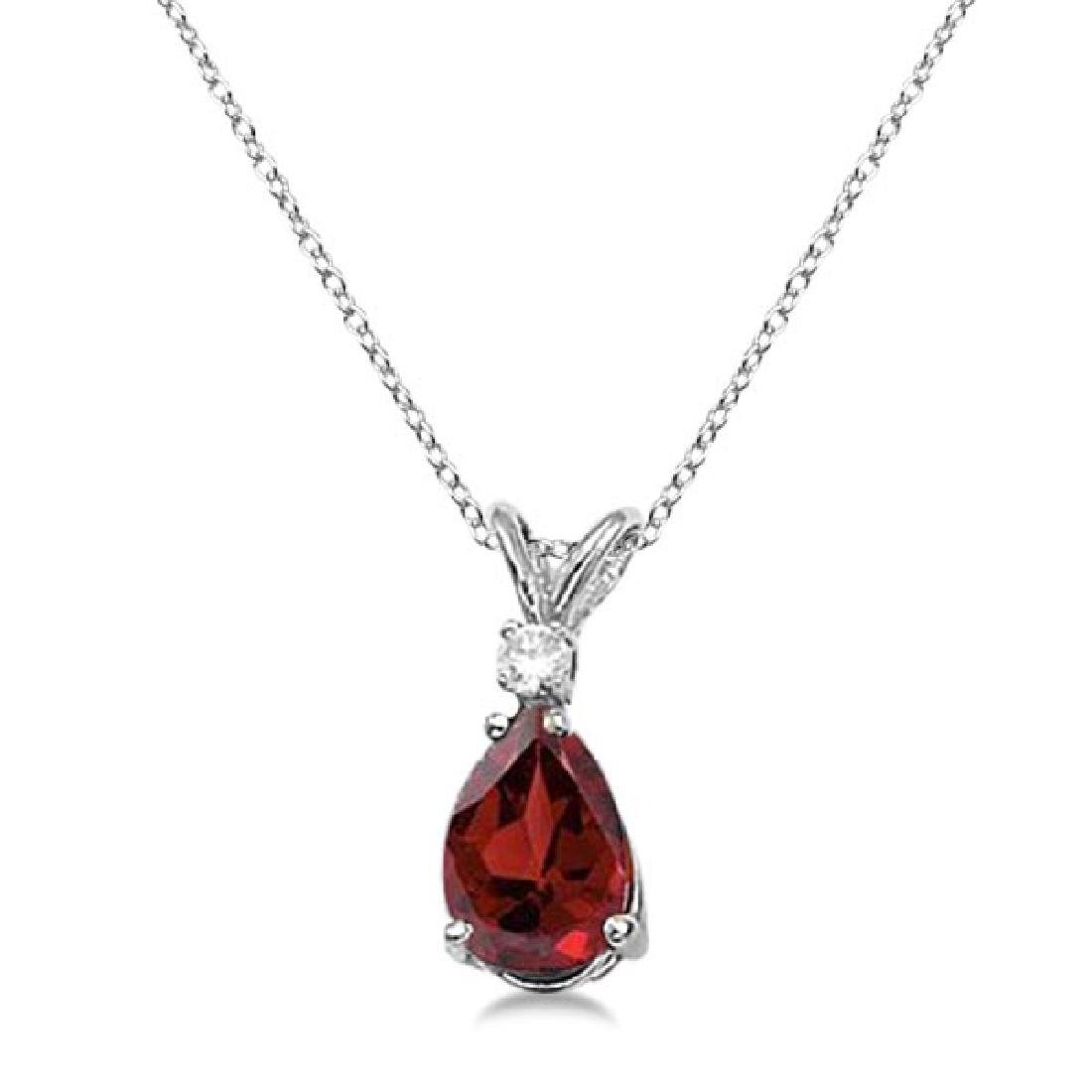 Pear Garnet and Diamond Solitaire Pendant Necklace 14k