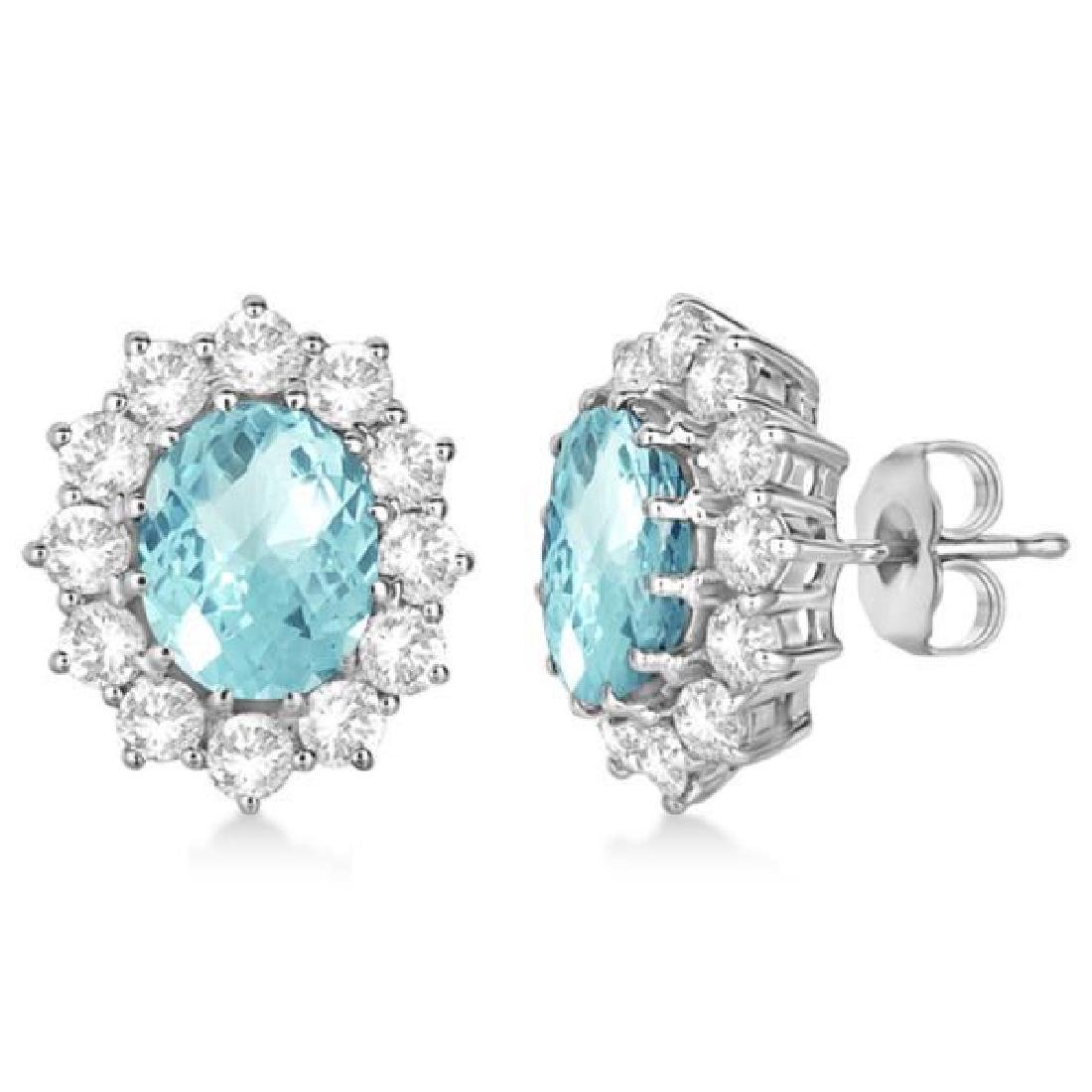 Oval Aquamarine and Diamond Accented Earrings 14k White