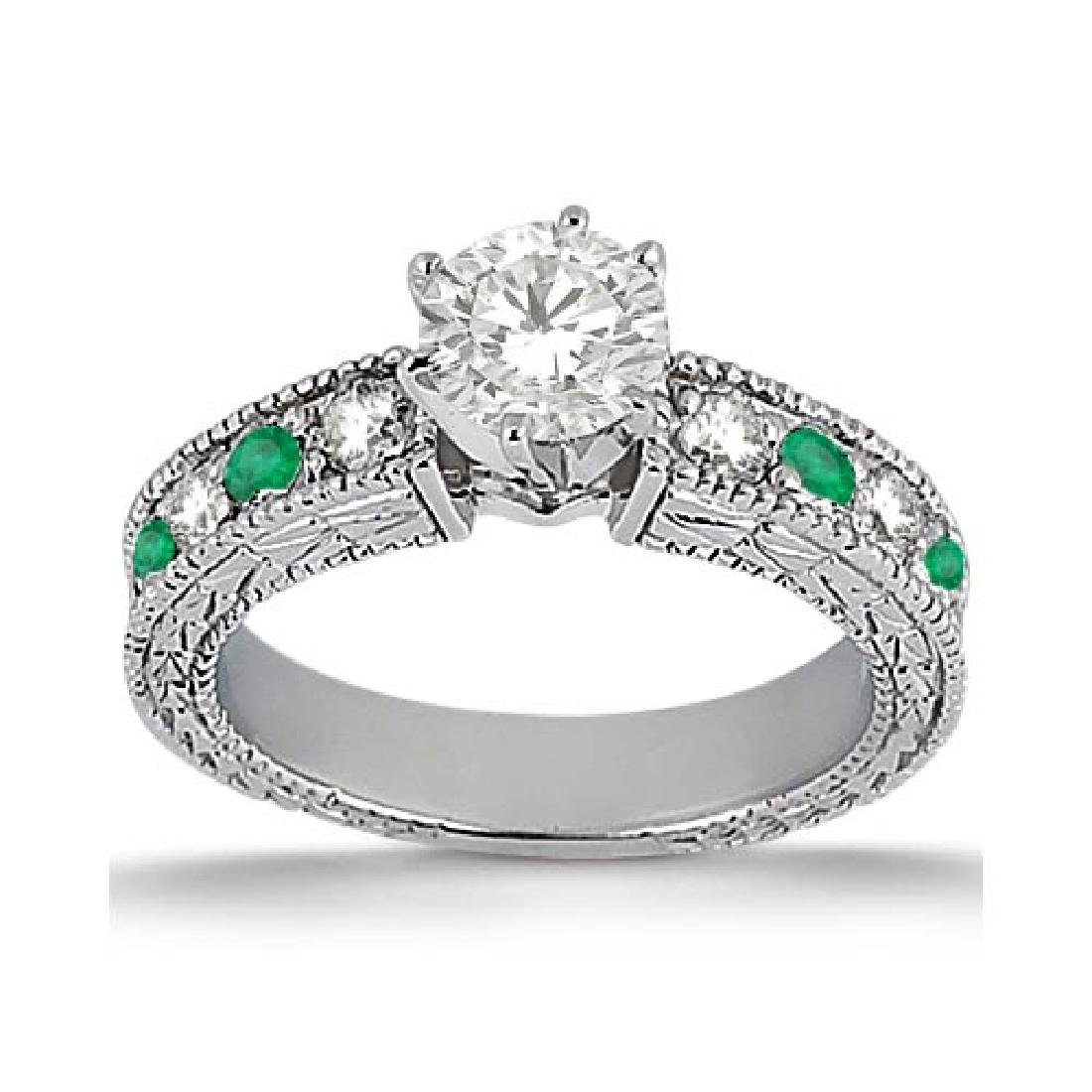 Antique Diamond and Emerald Engagement Ring 14k White G