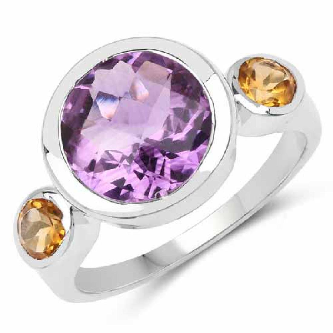 3.86 Carat Genuine Amethyst and Citrine .925 Sterling S