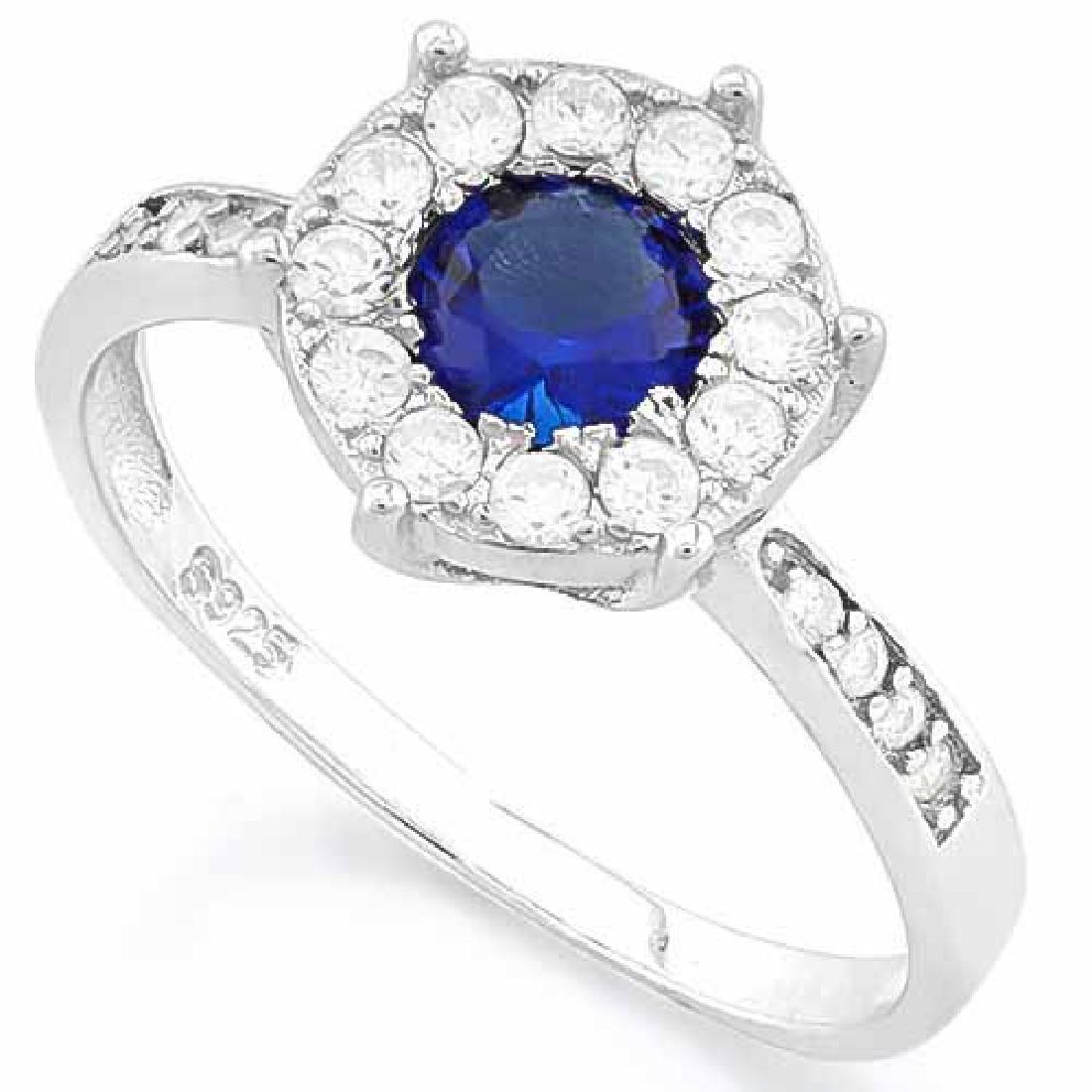 1 CARAT CREATED BLUE SAPPHIRE & 1/4 CARAT (24 PCS) FLAW
