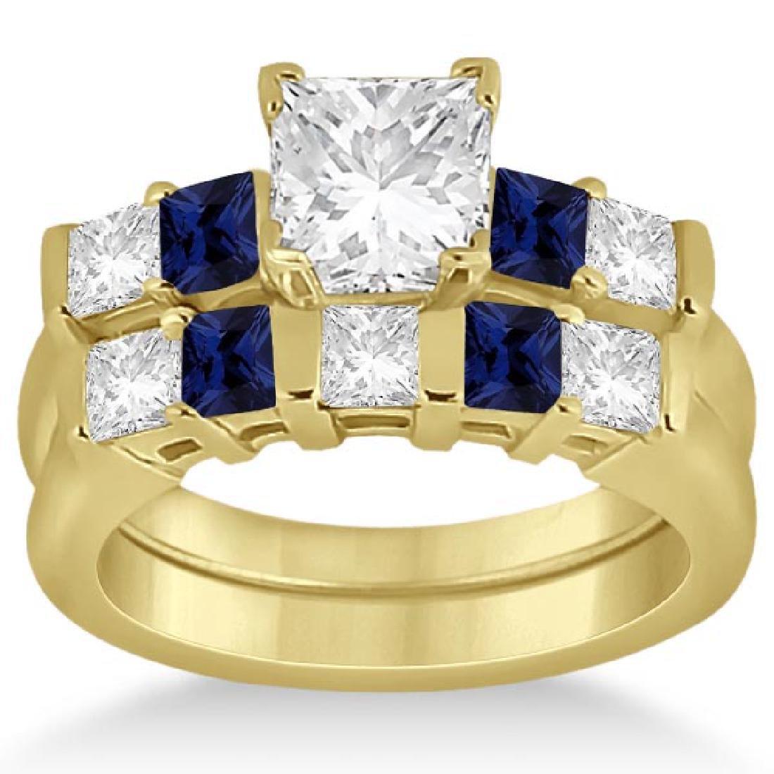 5 Stone Diamond and Blue Sapphire Bridal Set 18k Yellow