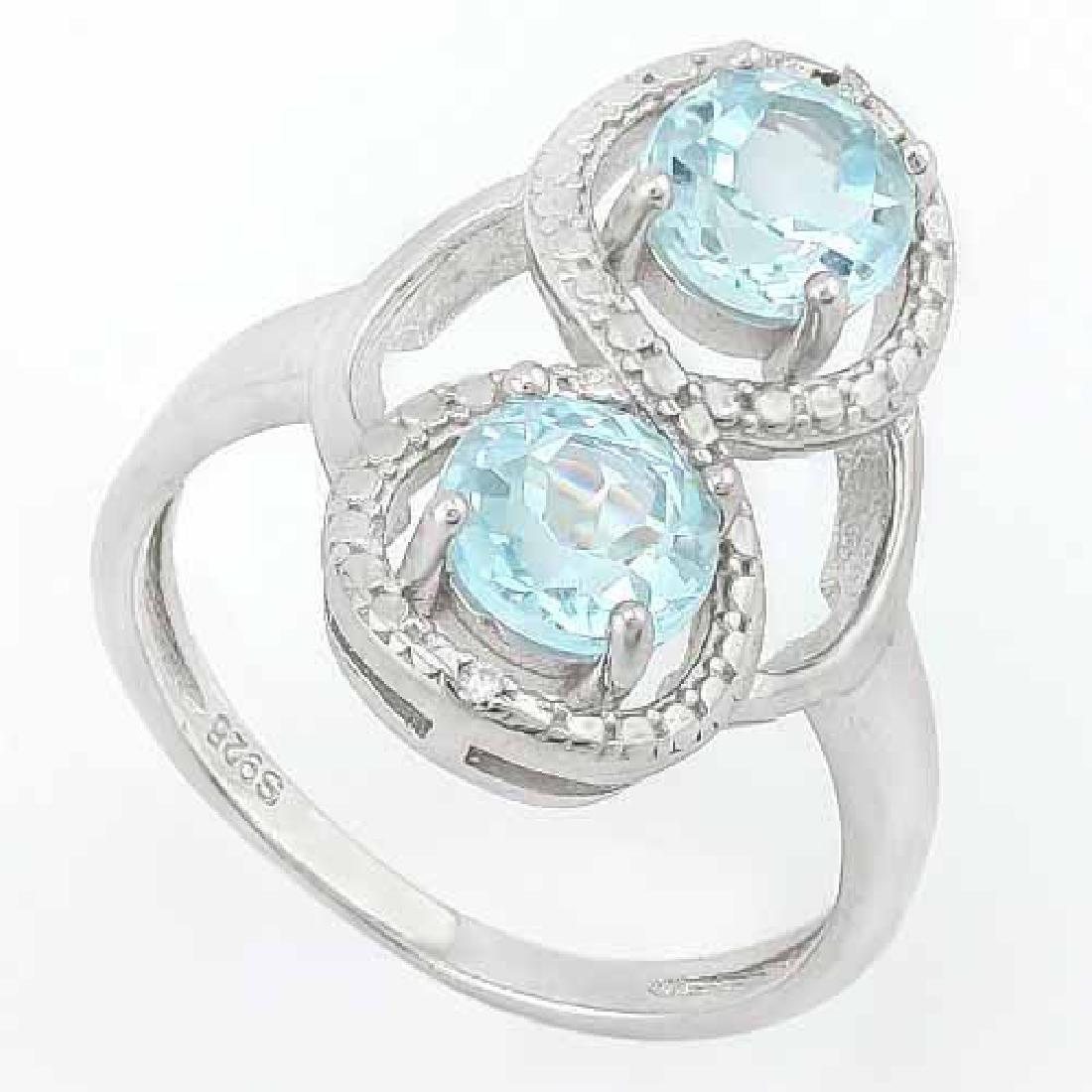 2 CARAT BABY SWISS BLUE TOPAZS & GENUINE DIAMONDS 925 S