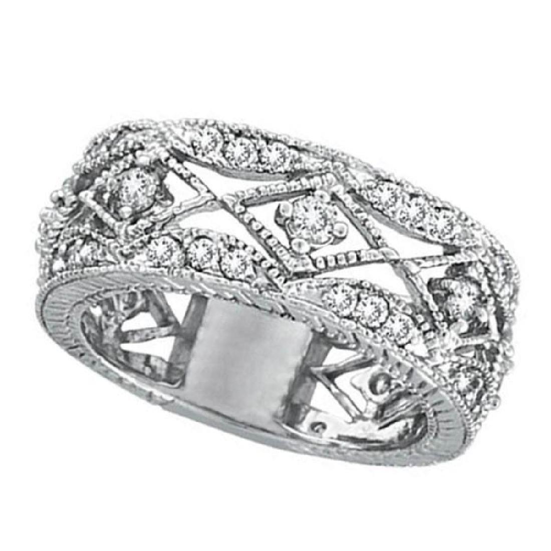 Antique Style Diamond Ring Filigree Band in 14k White G