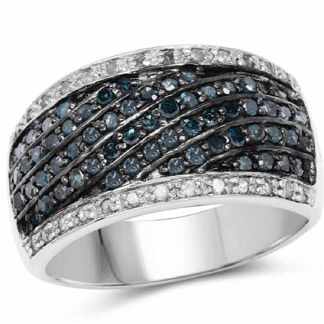 0.87 Carat Genuine Blue Diamond and White Diamond .925