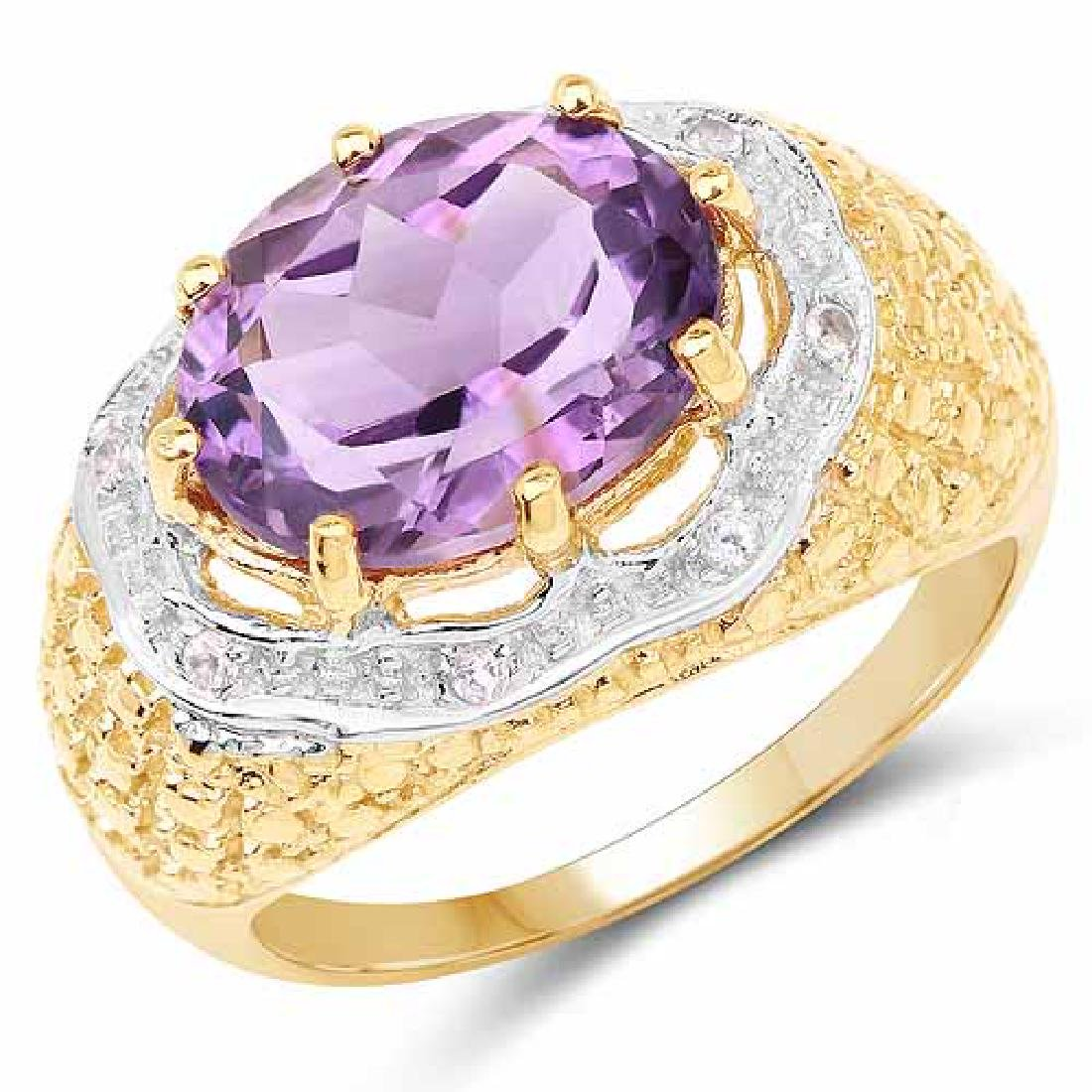 14K Yellow Gold Plated 3.92 Carat Genuine Amethyst and