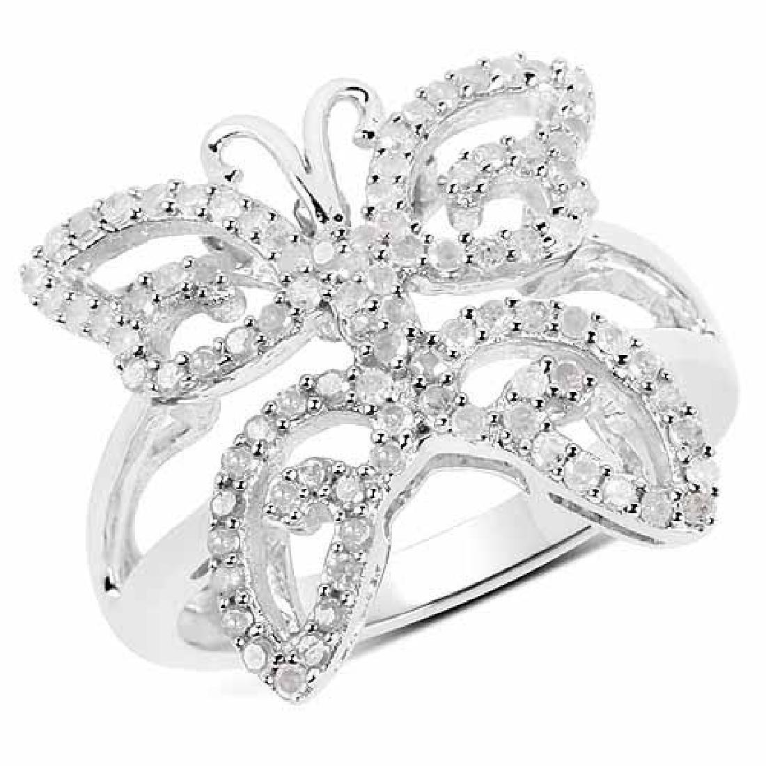 0.58 Carat Genuine White Diamond .925 Sterling Silver R