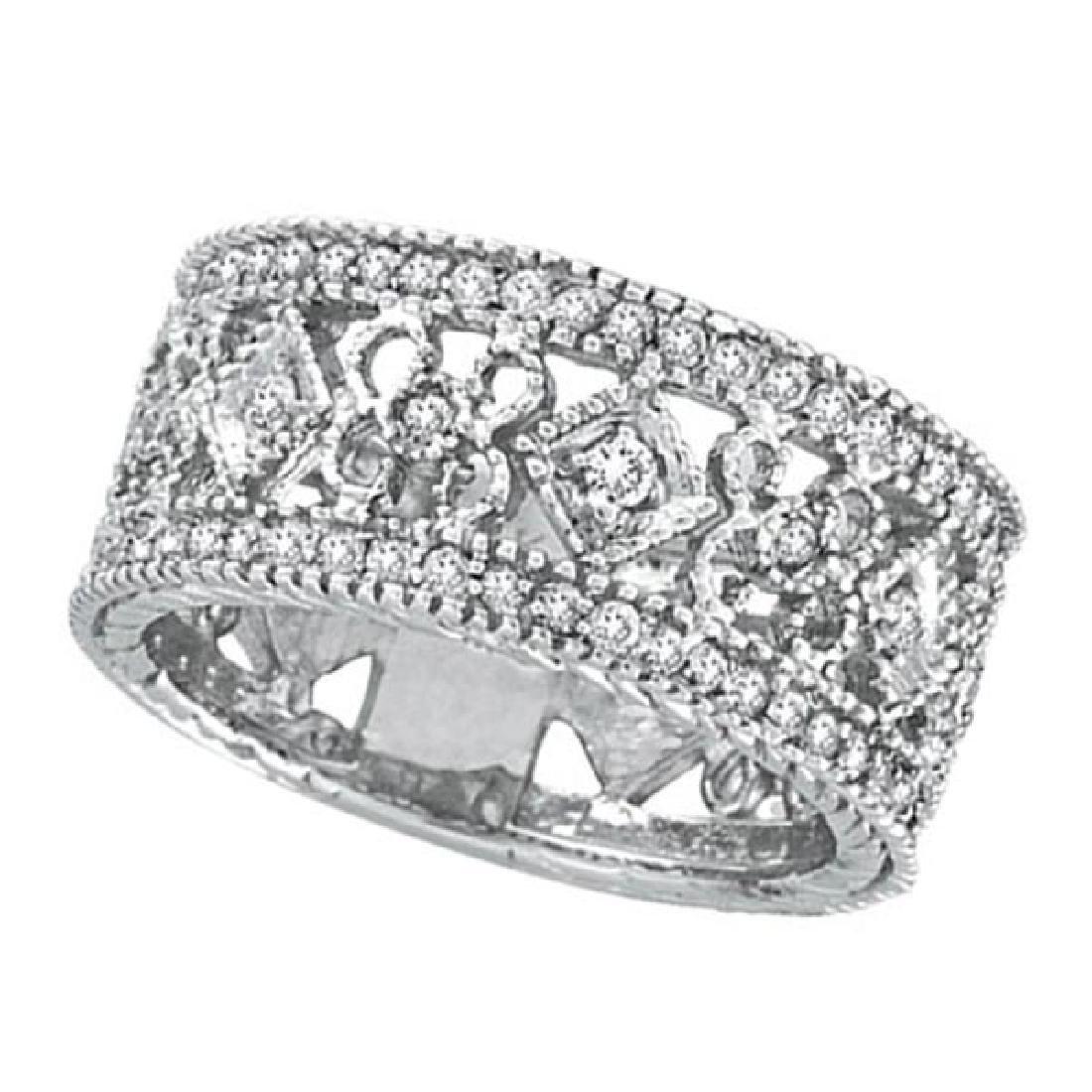 Antique Style Diamond Eternity Ring 14k White Gold