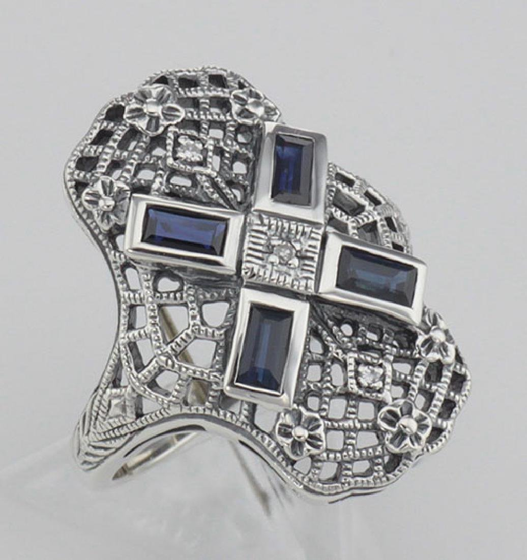 Art Deco Style Filigree Ring w/ Sapphire and 3 Diamonds