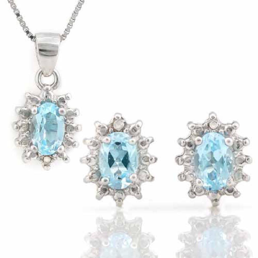 1 4/5 CARAT BABY SWISS BLUE TOPAZ & DIAMOND 925 STERLIN