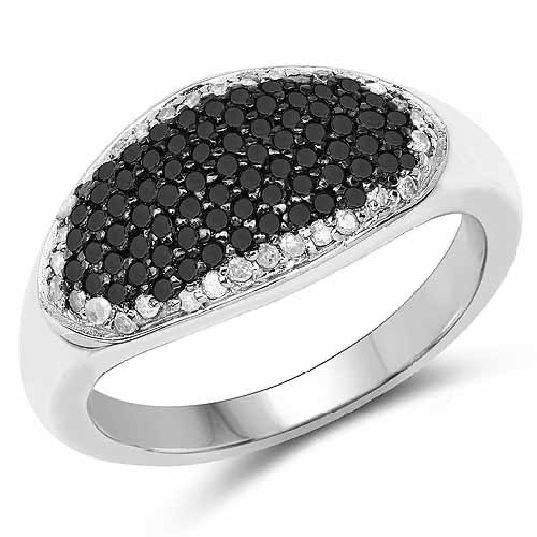 0.46 Carat Genuine Black Diamond and White Diamond .925