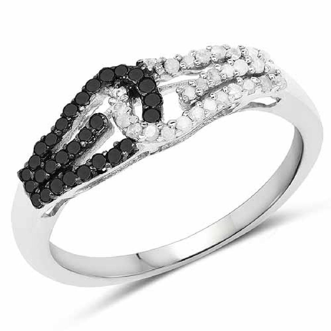 0.33 Carat Genuine White Diamond and Black Diamond .925
