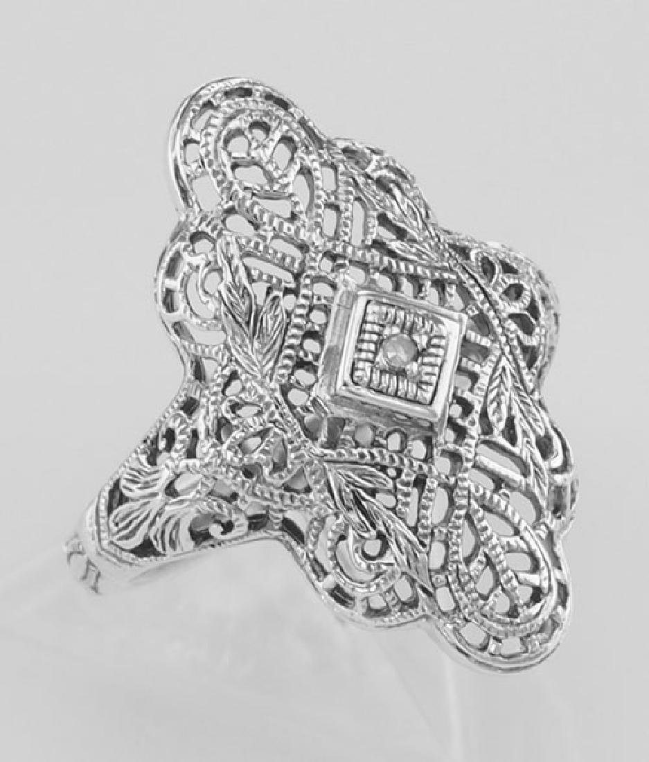 Lovely Victorian Style Filigree Ring w/ Diamond - Sterl
