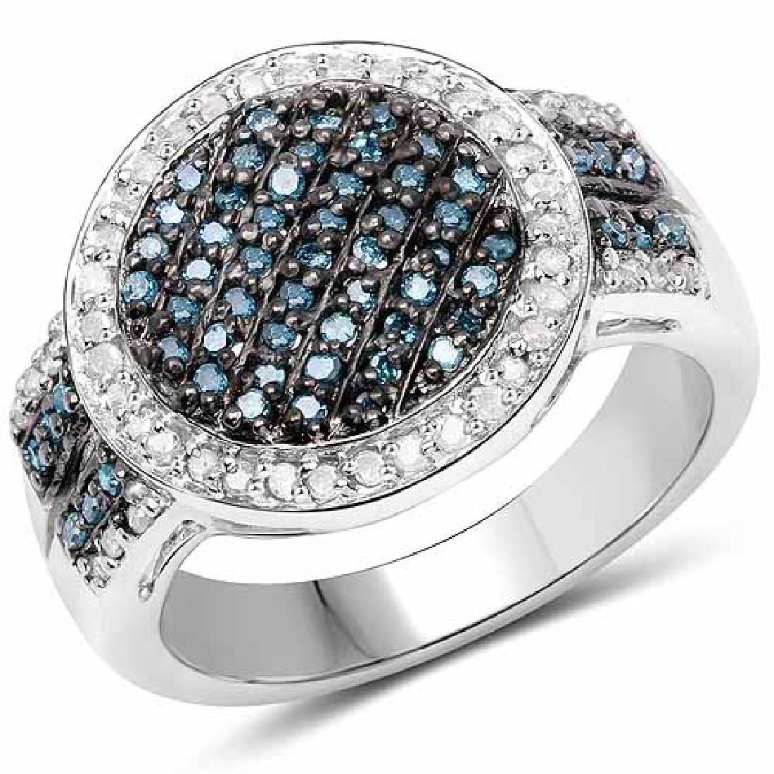 0.44 Carat Genuine Blue Diamond and White Diamond .925