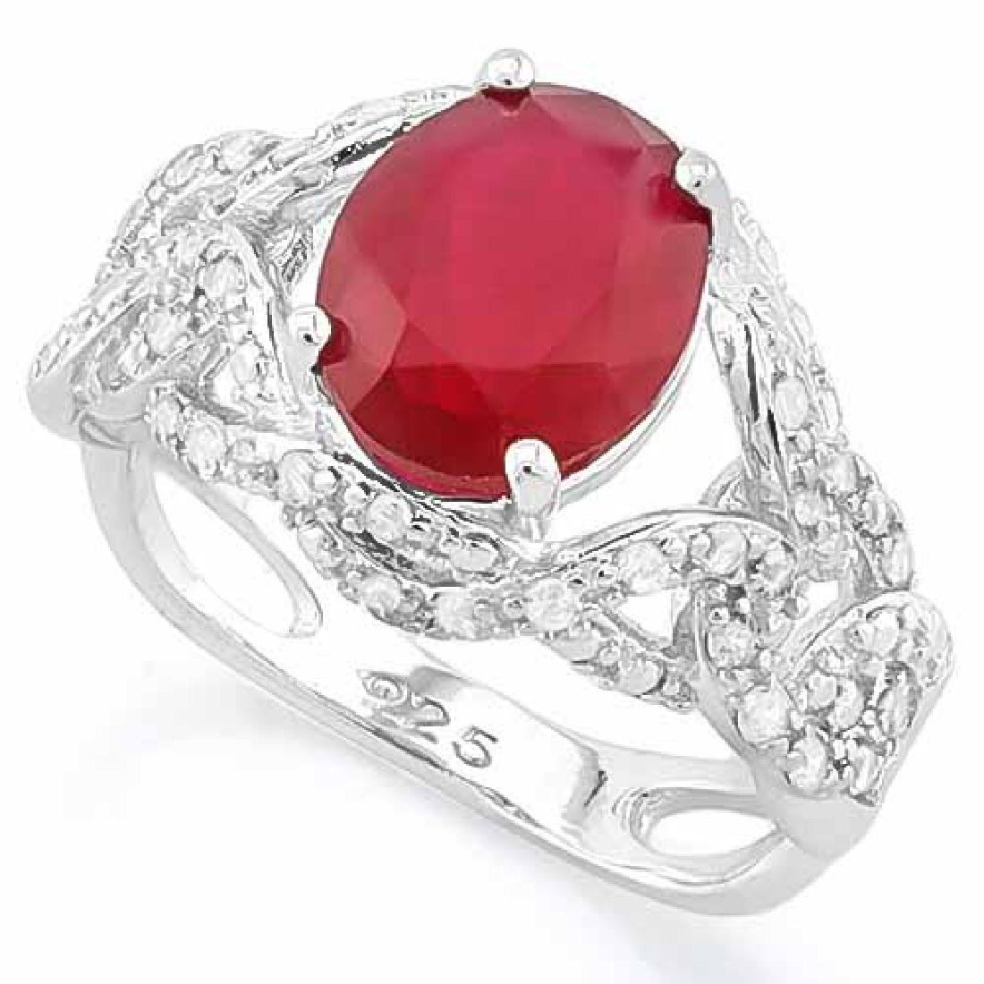 3 1/2 CARAT CREATED RUBY & 4 1/5 CARAT (42 PCS) FLAWLES