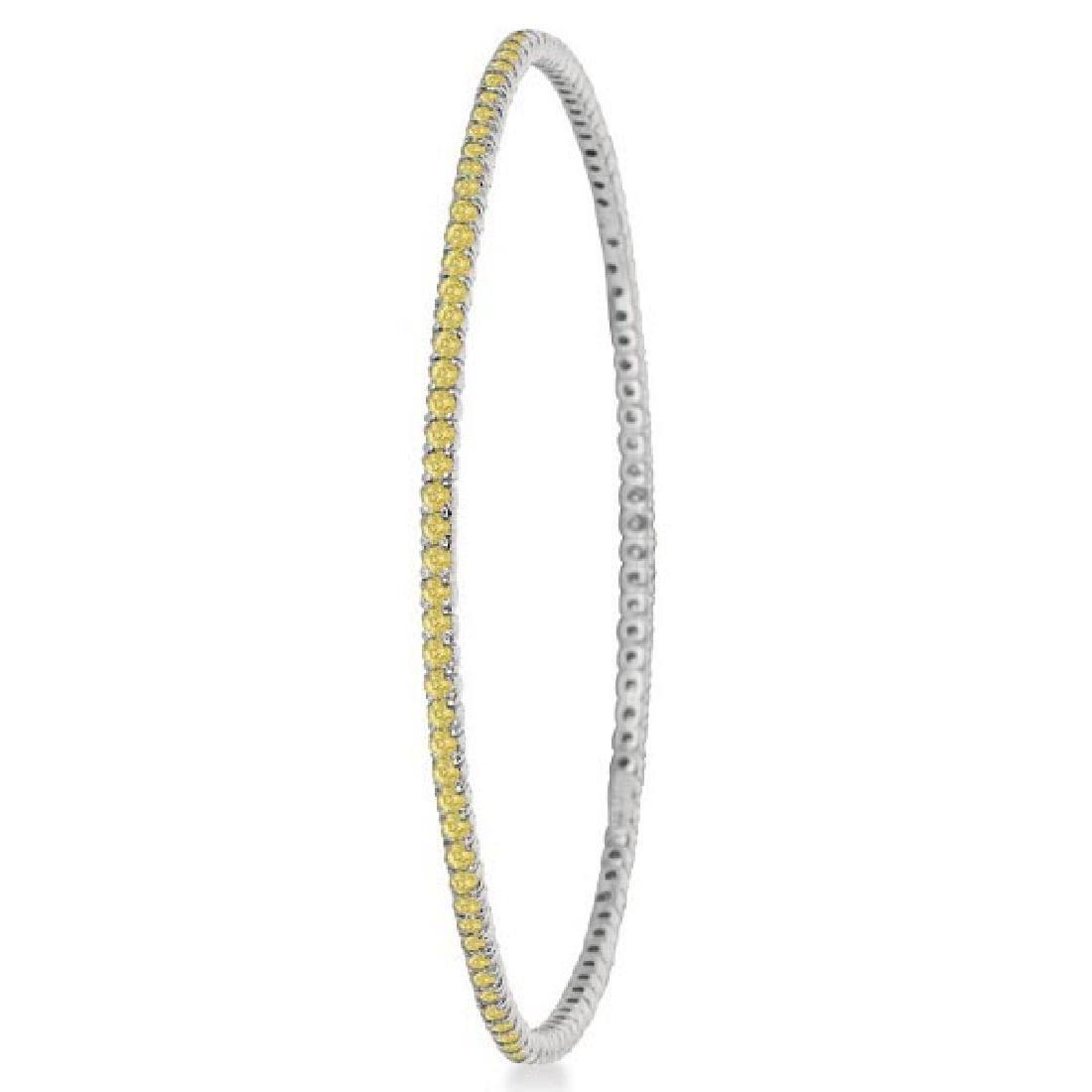 Fancy Yellow Diamond Eternity Bangle Bracelet 14k White