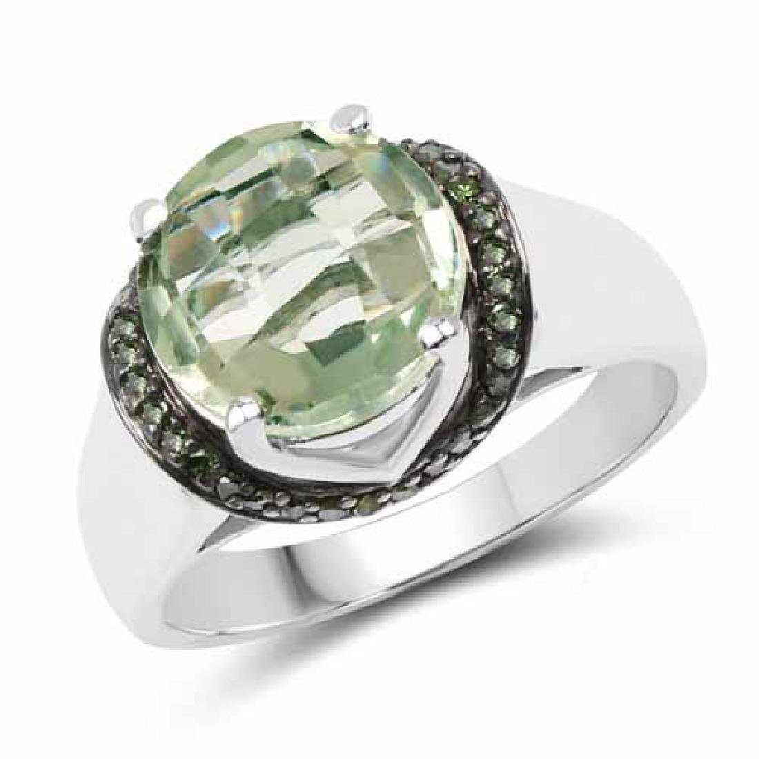3.95 Carat Genuine Green Amethyst and Green Diamond .92