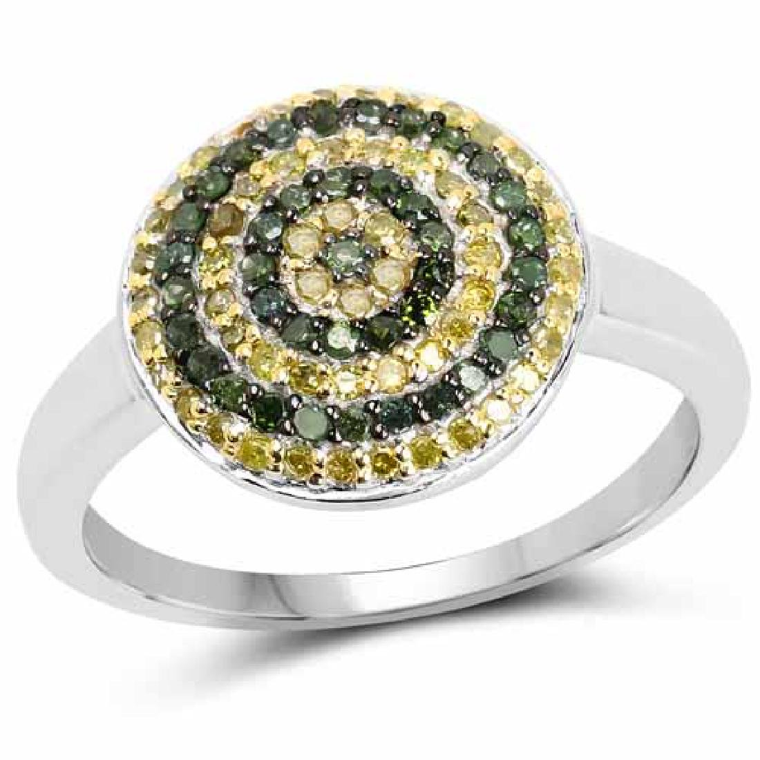 0.39 Carat Genuine Green Diamond and Yellow Diamond .92
