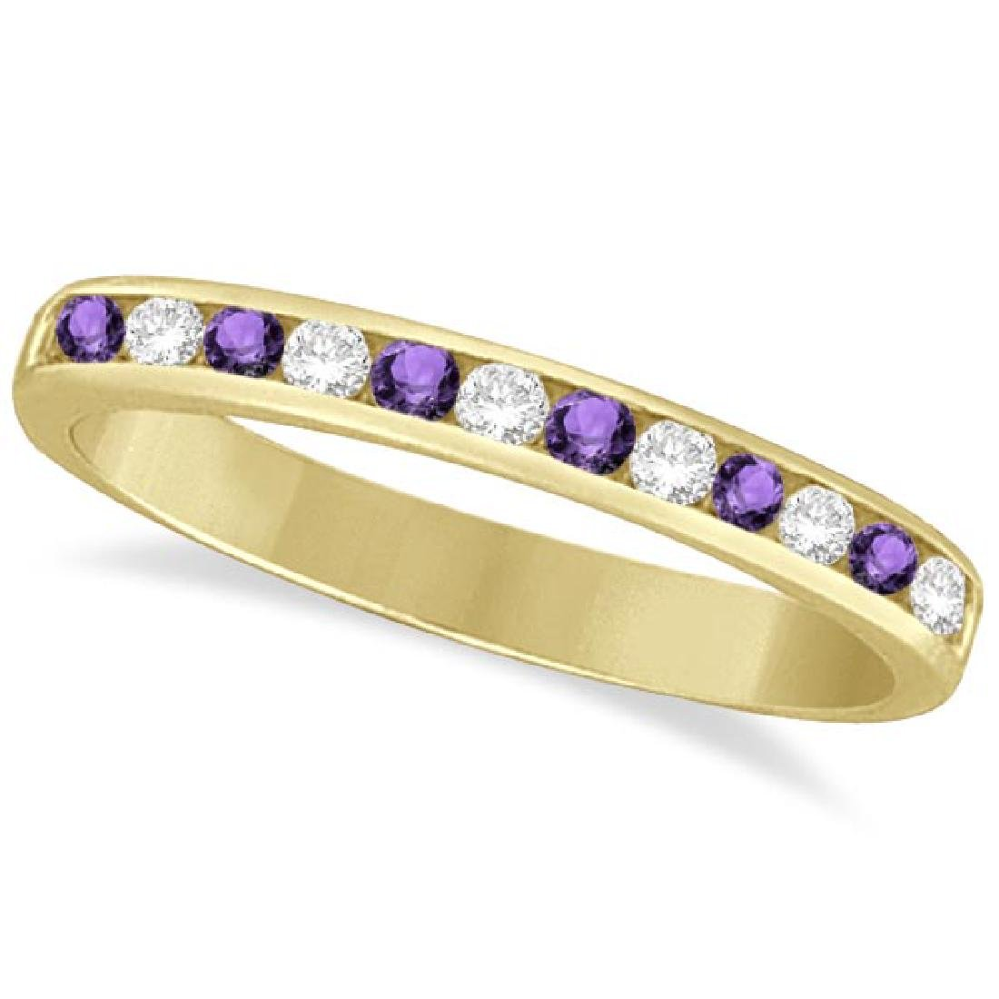 Amethyst and Diamond Semi-Eternity Channel Ring 14k Yel