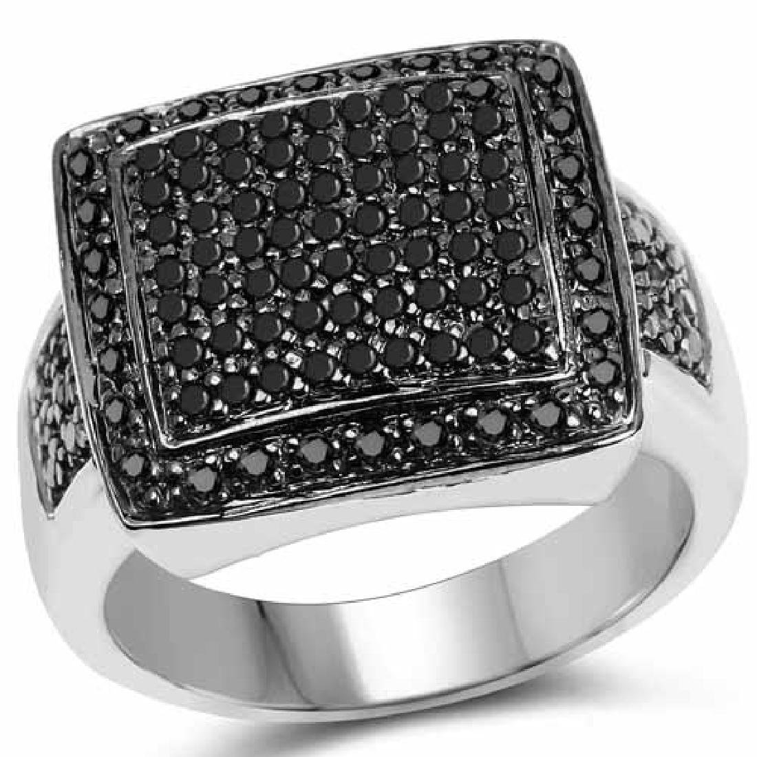 0.60 Carat Genuine Black Diamond .925 Sterling Silver R