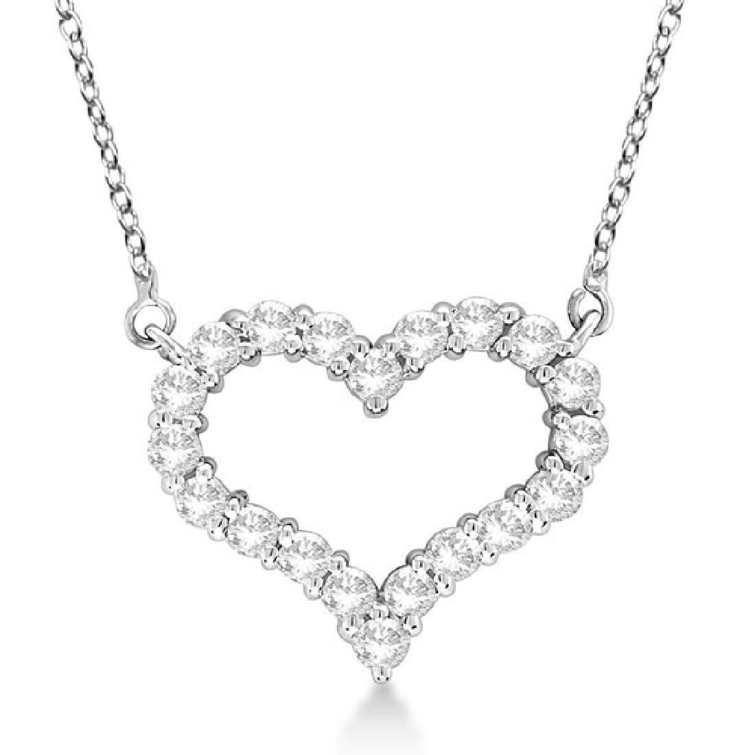Open Heart Diamond Pendant Necklace 14k White Gold (1.0