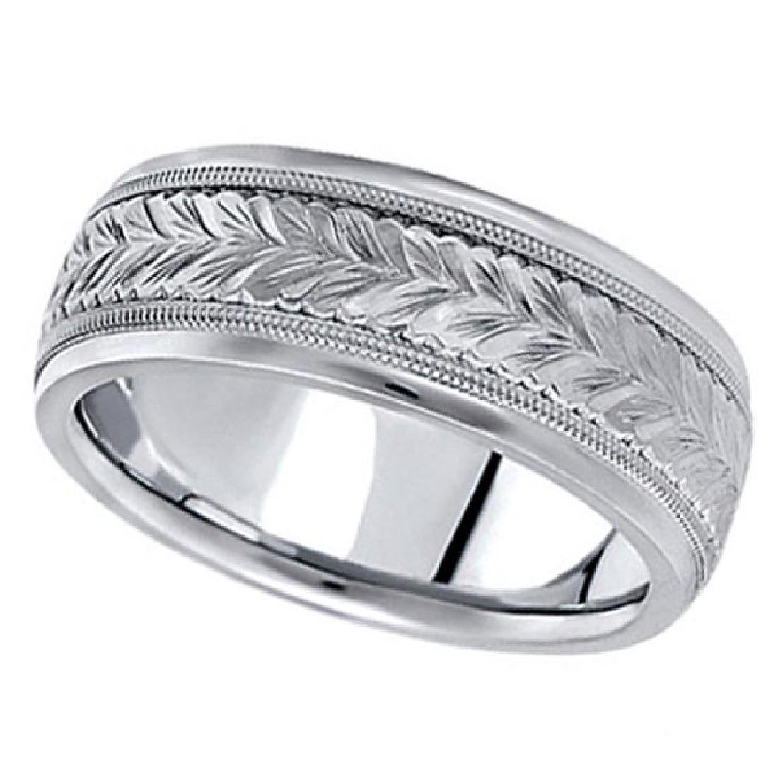 Hand Engraved Wedding Band Carved Ring in Platinum (6.5
