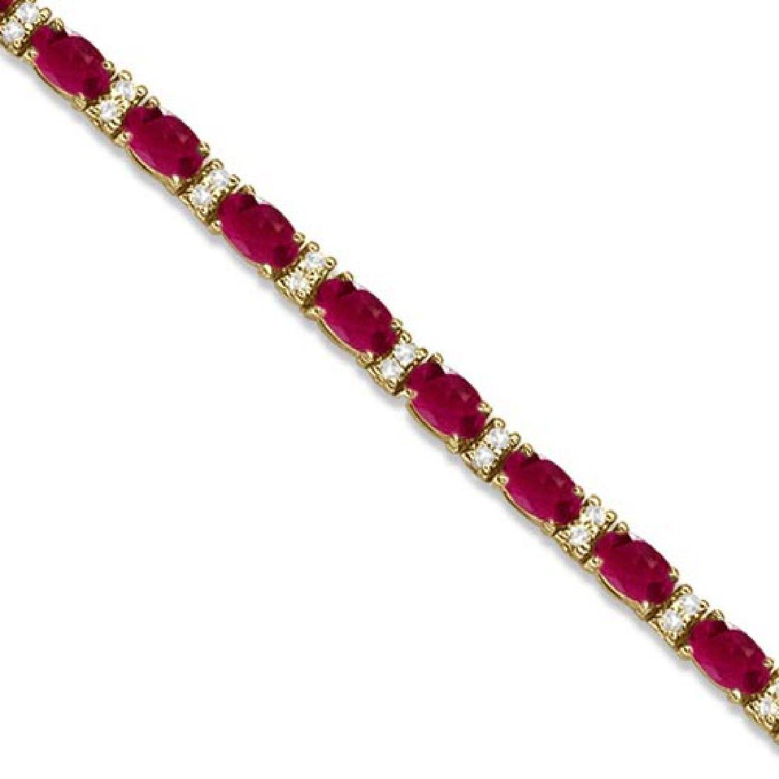 Diamond and Oval Cut Ruby Tennis Bracelet 14k Yellow Go