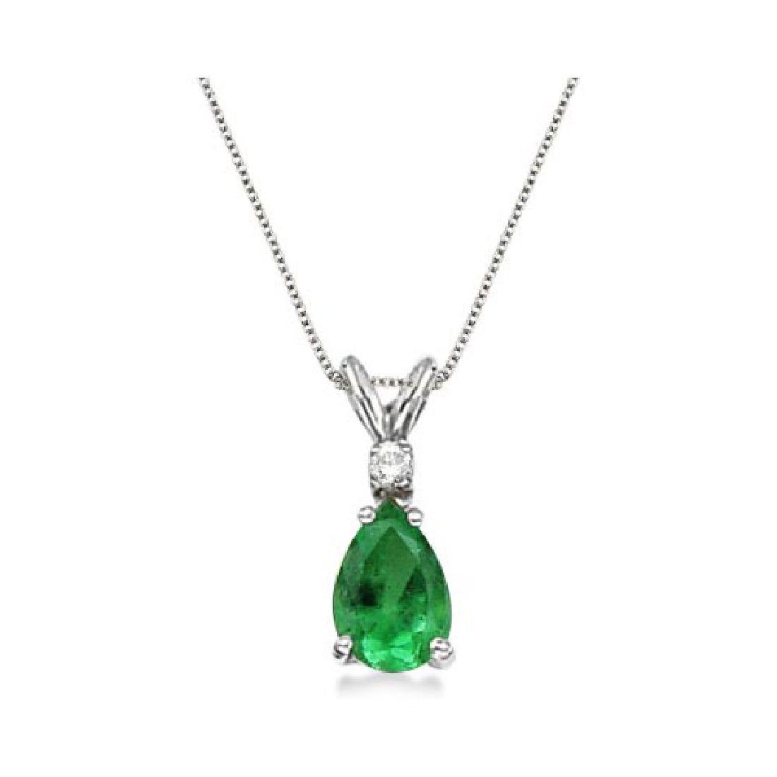 Pear Emerald and Diamond Solitaire Pendant Necklace 14k