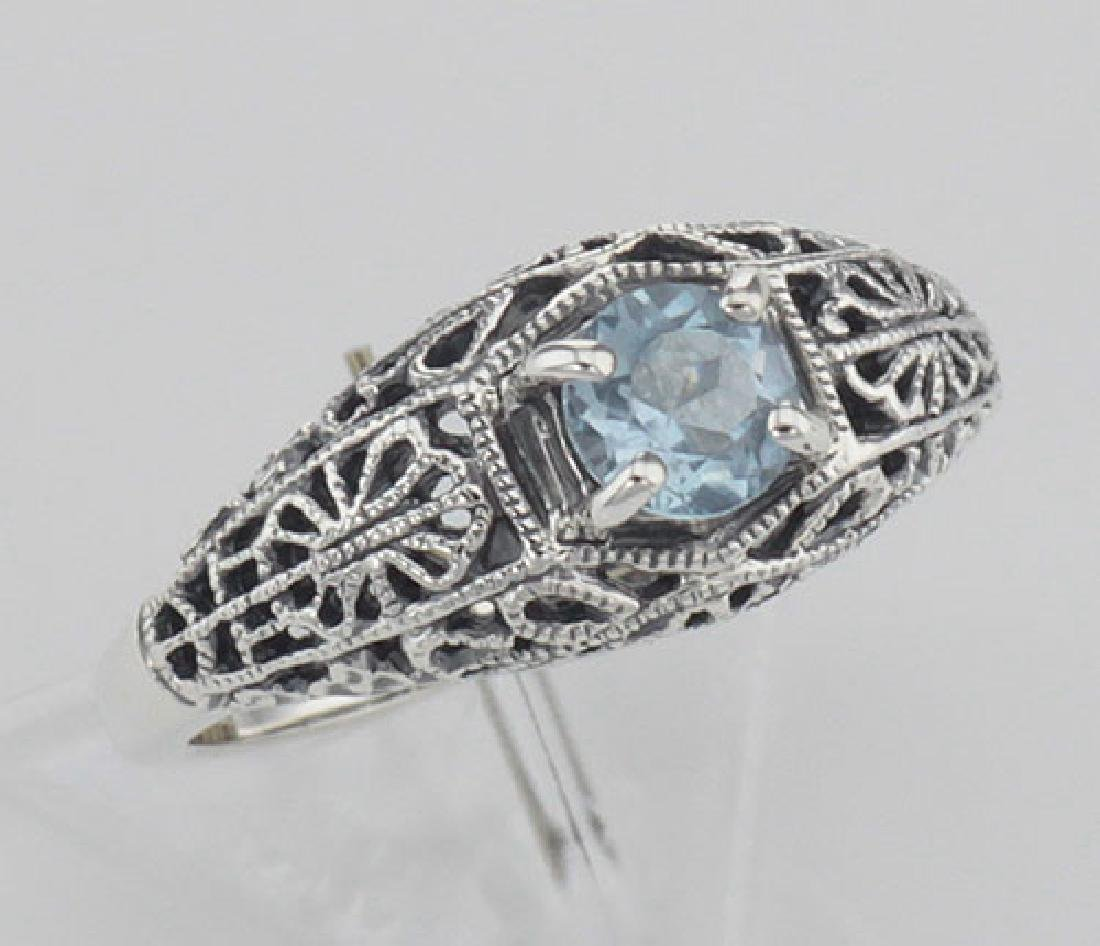 Blue Topaz Fine Filigree Ring - Art Deco Style - Sterli