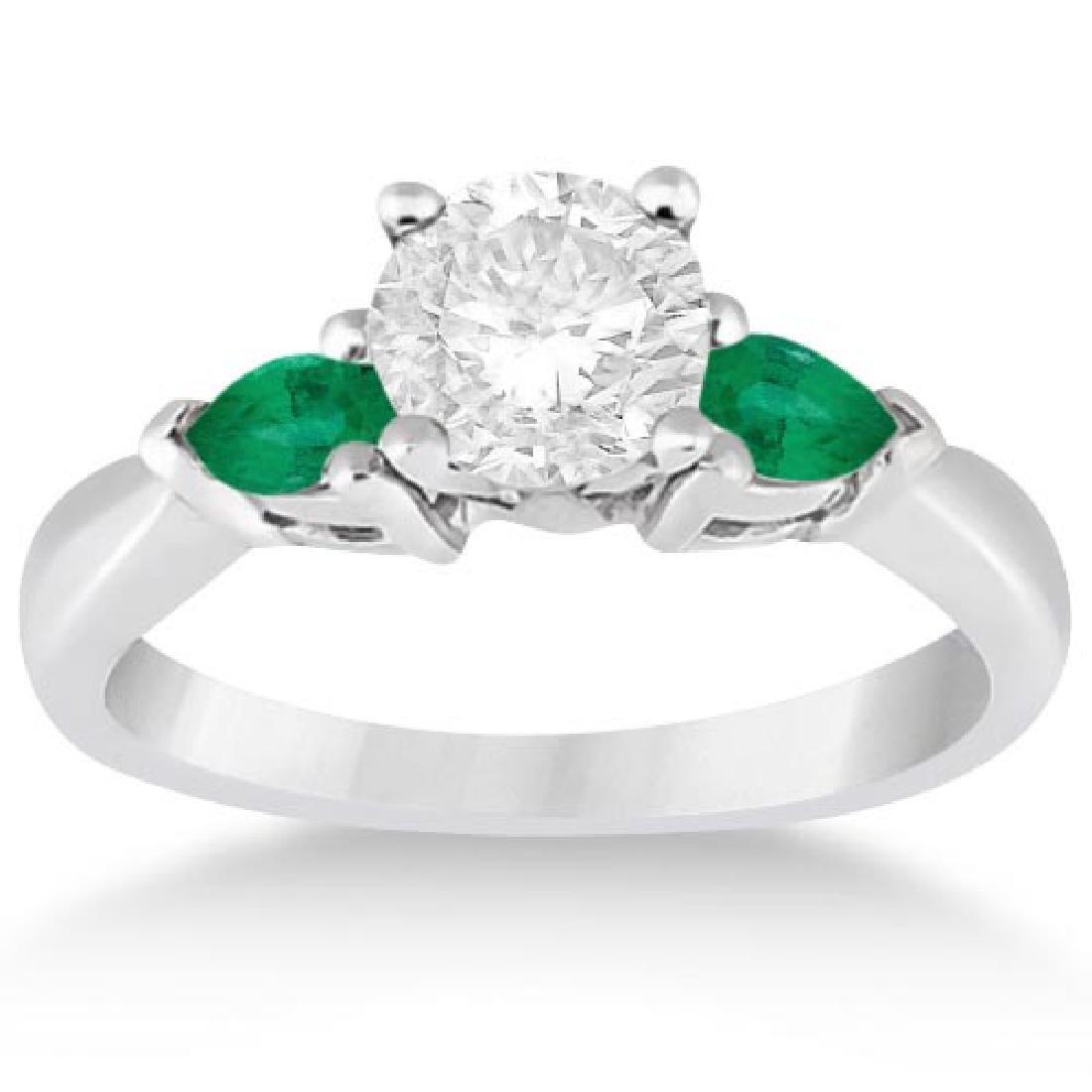 Pear Cut Three Stone Emerald Engagement Ring 14k White